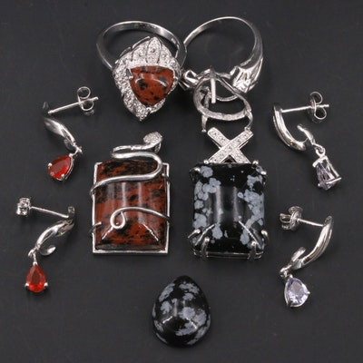 Sterling Jewelry Selection with Obsidian, Tanzanite and Others
