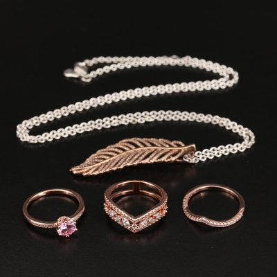 Rose Gold Cubic Zirconia Rings Featuring Pandora Sterling Chain Necklace