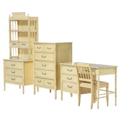 Henry Link Faux Bamboo Chests and Desk with Shelf Unit Suite