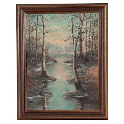 Marsh Landscape Oil Painting, 1987