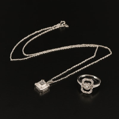 Sterling Diamond and Cubic Zirconia Necklace and Ring