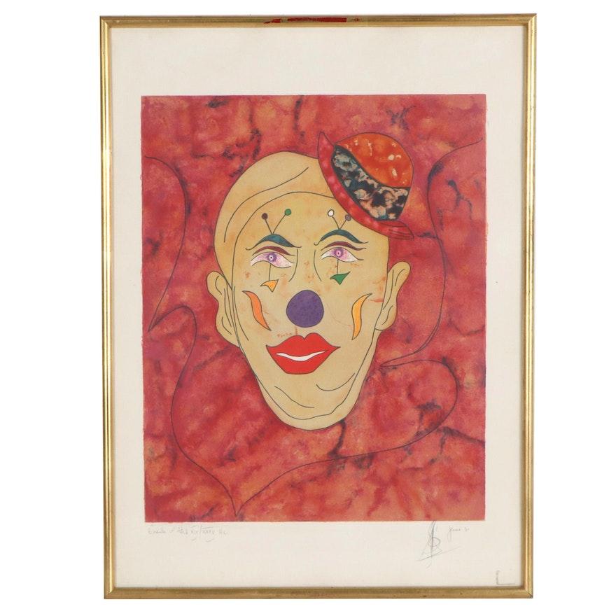 Clown Portrait Lithograph, 1981