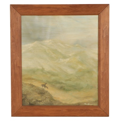 Gus Bowman Western Landscape Oil Painting, Mid-20th Century