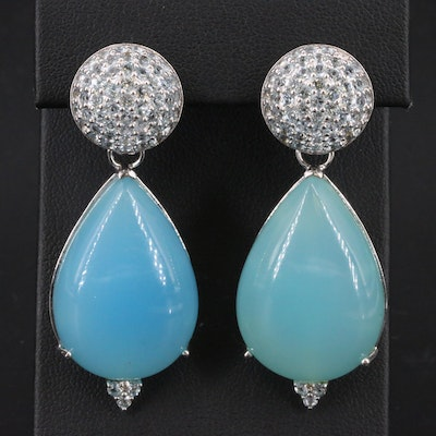 Sterling Chalcedony and Topaz Earrings with Removable Enhancers