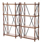 Pair of Turned Wood and Metal-Braced Étagère Bookcases
