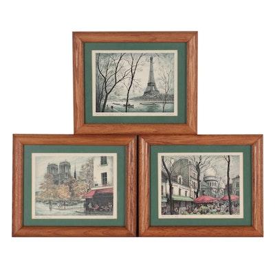 Offset Lithographs of Parisian Landmarks, Late 20th Century
