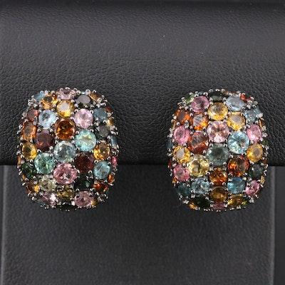 Sterling Tourmaline Cluster Earrings