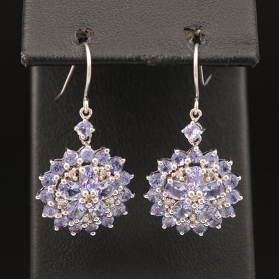 Sterling Tanzanite and Diamond Cluster Earrings