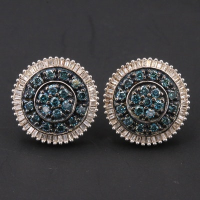 Sterling 1.00 CTW Blue Diamond and Diamond Earrings