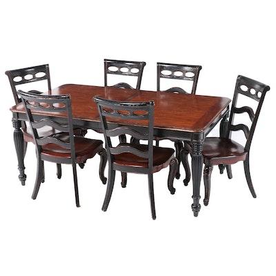 "Seven-Piece Haverty's ""Beaujolais"" Parcel-Ebonized Hardwood Dining Set"