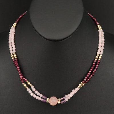 Sterling Silver Rose Quartz, Garnet and Amethyst Double Strand Necklace