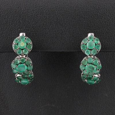 Sterling Emerald Hoop Earrings