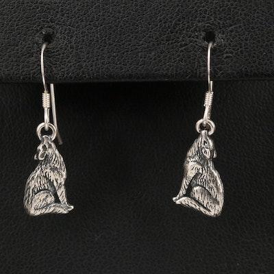 Southwestern Style Sterling Silver Howling Coyote Earrings