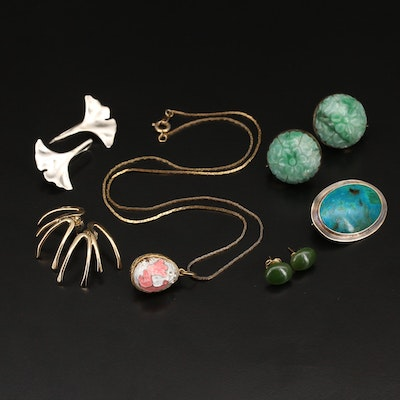 Jewelry with Sterling, Jadeite and Gemstones