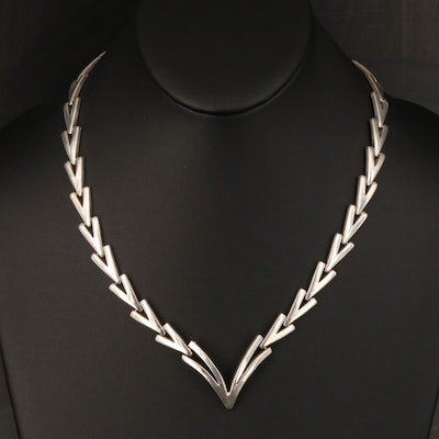 Mexican Sterling Chevron Necklace