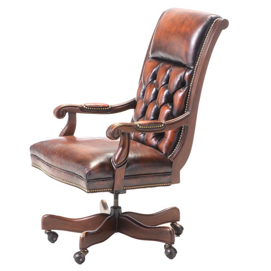 Hancock & Moore Button Tufted Leather Swivel Office Chair, Late 20th Century