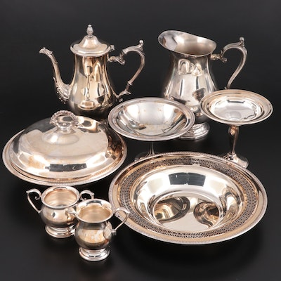 Sheffield Silver Water Pitcher and Other American Silver Plate Tableware
