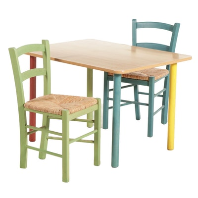 Pottery Barn Kids Three-Piece Multicolor Wood Table and Chair Set