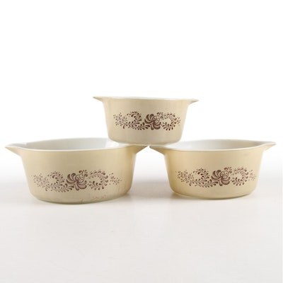 """Pyrex """"Homestead"""" Brown Nesting Mixing Bowls, 1983–1985"""