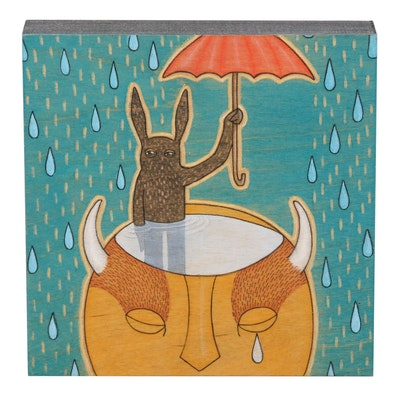 "Ashley Pierce Folk Art Mixed Media Painting ""Under the Weather,"" 2017"