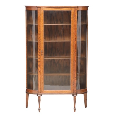 Colonial Revival Oak Display Cabinet, Early to Mid 20th Century