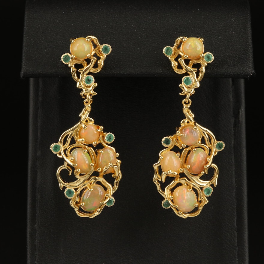 Sterling Vine Motif Cluster Drop Earrings with Opal and Emerald