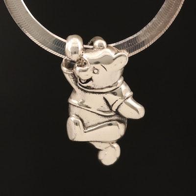 Disney Sterling Winnie the Pooh Slide Pendant on Herringbone Chain