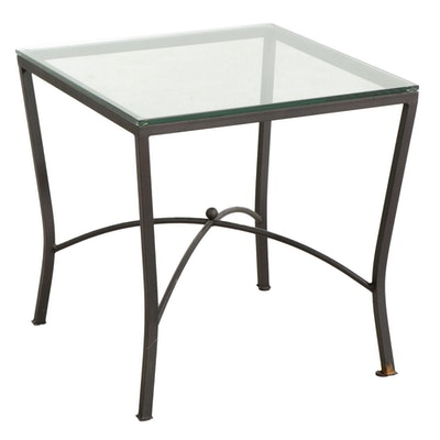 Contemporary Iron and Glass Side Table