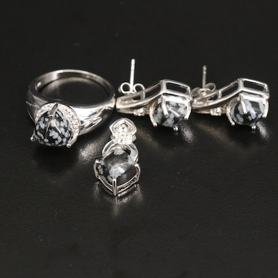 Sterling Obsidian and Topaz Jewelry