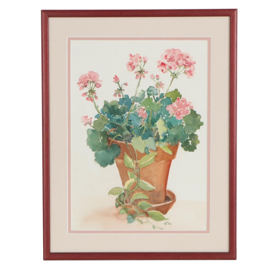 Geraniums Watercolor Painting, Late 20th Century