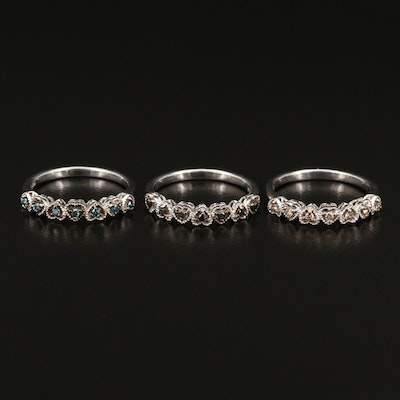 Sterling Silver Diamond Stackable Heart Rings