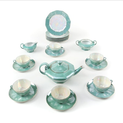 Germany Art Deco Lusterware Porcelain Tea Service for Six, Early 20th Century