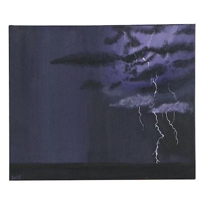 Stormy Landscape Acrylic Painting, Circa 2000