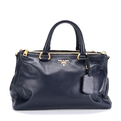 Prada Navy Leather Two-Way Handbag
