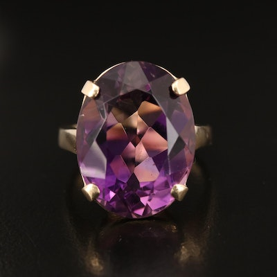 14K 16.33 CT Amethyst Solitaire Ring