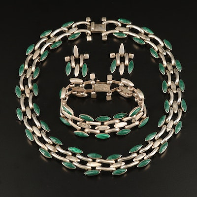 Mexican 950 Silver Faux Malachite Panther Chain Jewelry Set