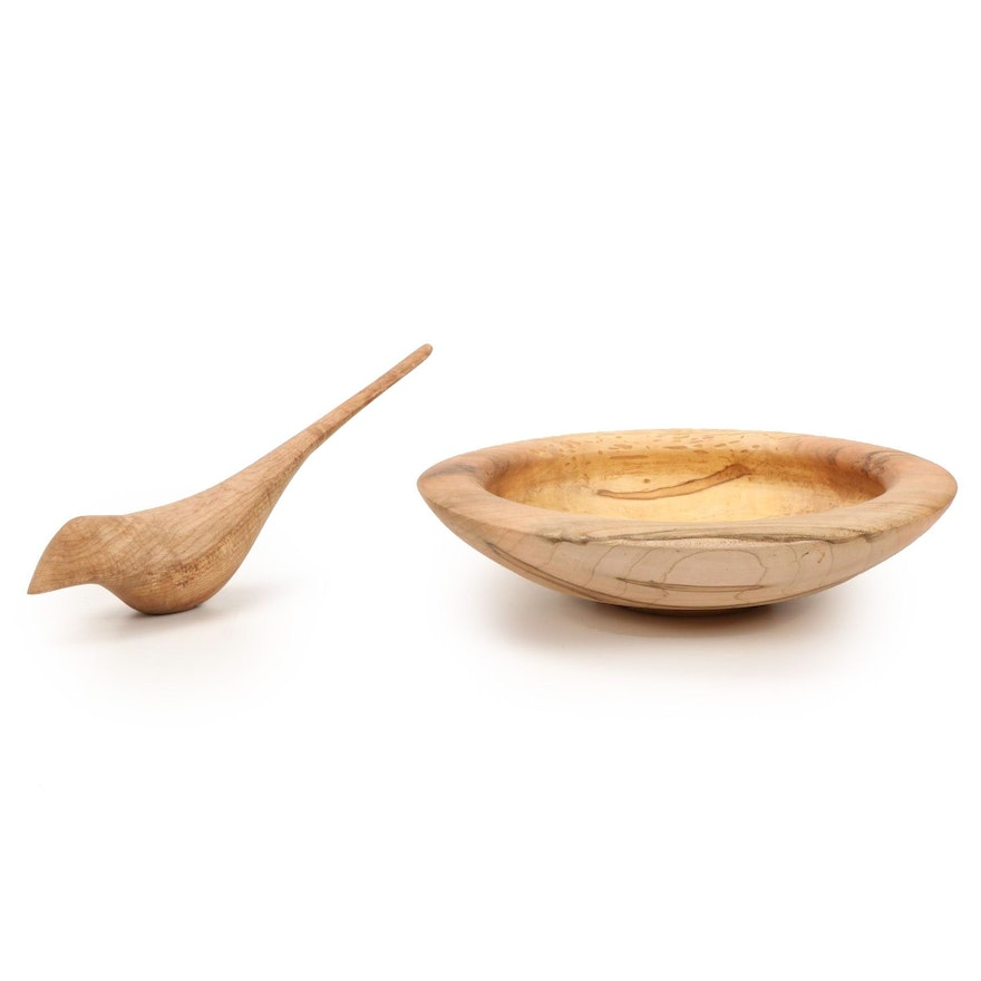 Jim Eliopulos Turned Maple Bowl with Hand-Carved Maple Bird Sculpture