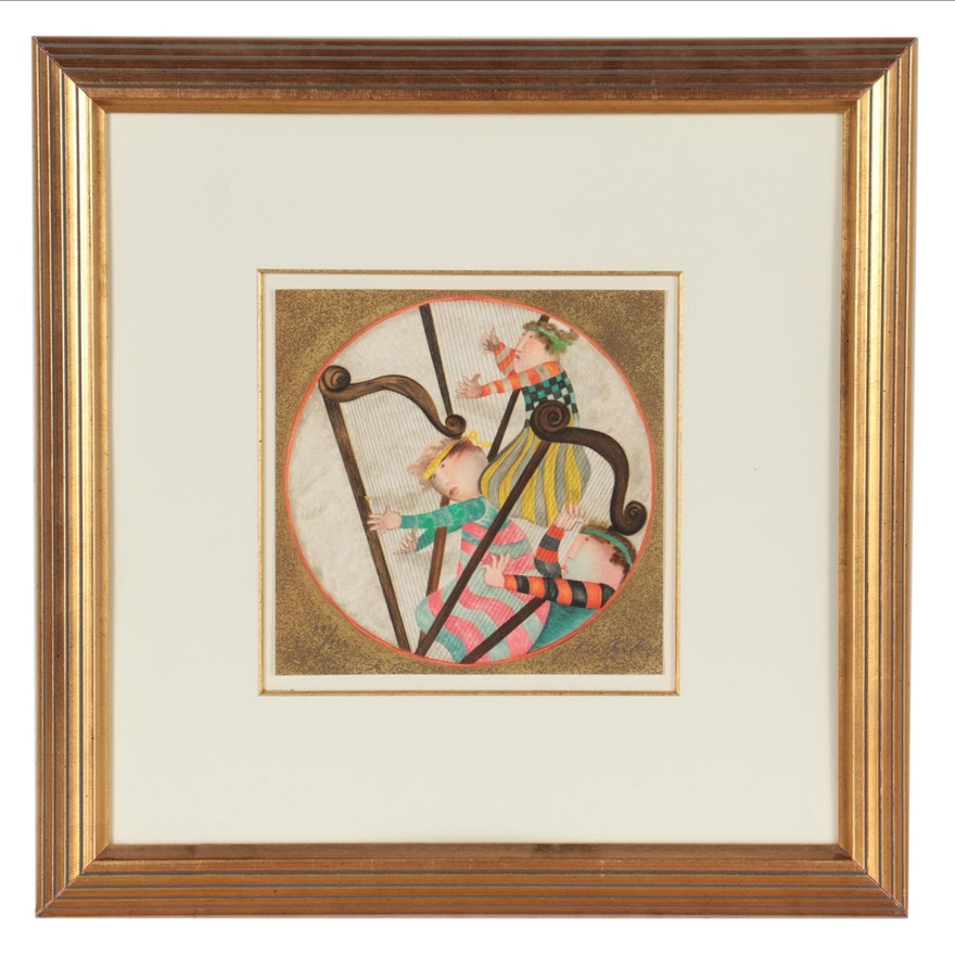 Graciela Rodo Boulanger Lithograph of Harp Players