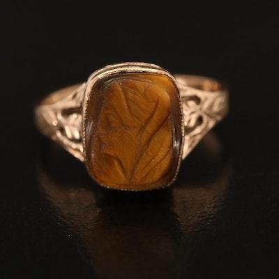 10K Tiger's Eye Cameo Ring