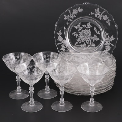 """Heisey """"Heisey Rose"""" Etched Glass Plates and Champagne Coupes,  1949–1957"""