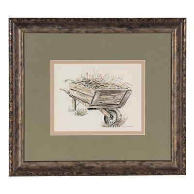 "Barbara J. McCorkindale Ink and Watercolor Painting ""Spring Cleanup"""