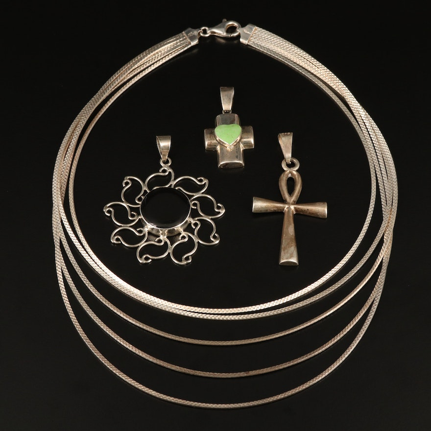 Sterling Multi-Chain Necklace with Sun and Cross Pendants