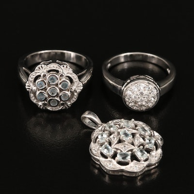 Sterling rings Featuring Amblygonite, Zircon and Chrysoberyl