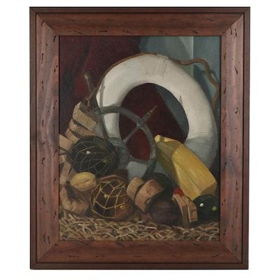 "Truman Toland Nautical Still Life Oil Painting ""Tools of the Trade,"" Circa 1949"