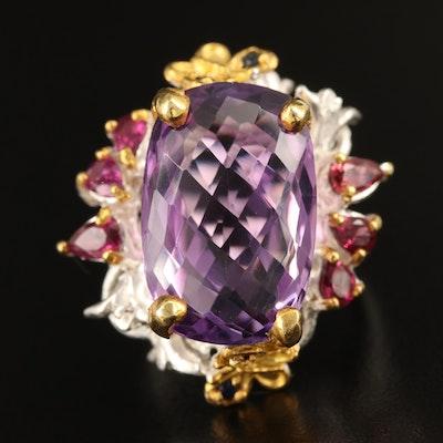 Sterling Amethyst, Rhodolite Garnet and Sapphire Foliate Ring
