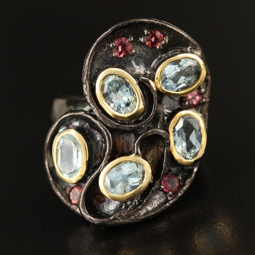Sterling Topaz and Tourmaline Ring
