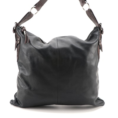 Foley + Corinna Black Leather Hobo Bag with Brown Leather Cutout Appliqués