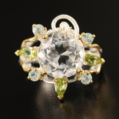 Sterling Amethyst, Topaz and Peridot Ring with Split Shank