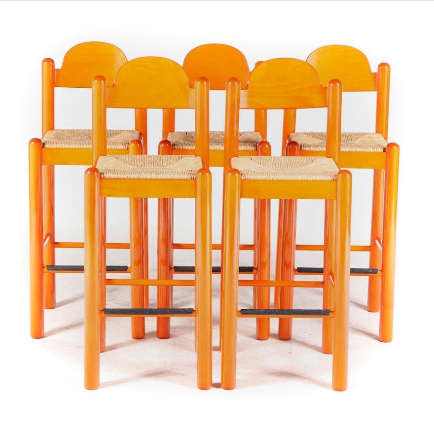 Five Hank Loewenstein Inc. Post-Modern Orange-Stained Beech Bar Stools