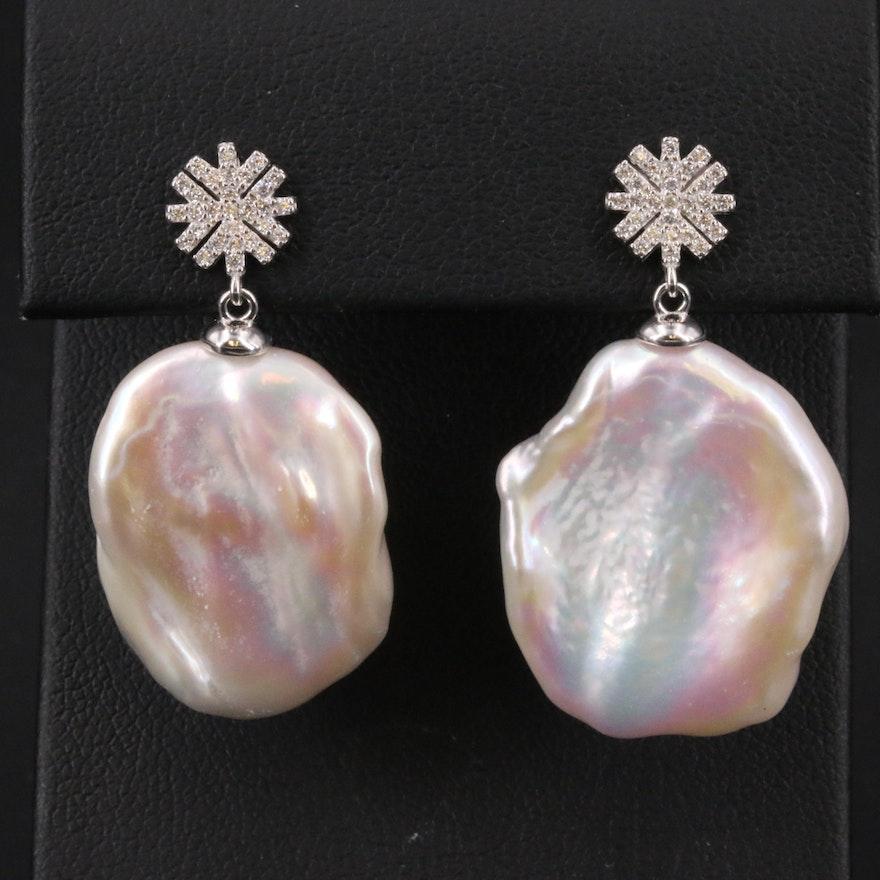 Sterling Pearl and Cubic Zirconia Drop Earrings